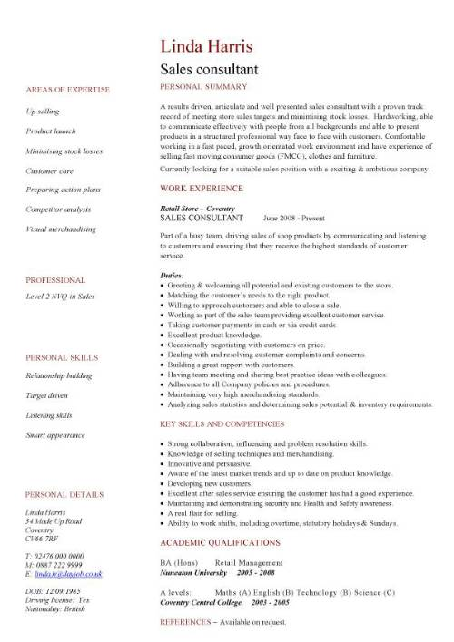 cv consultants example