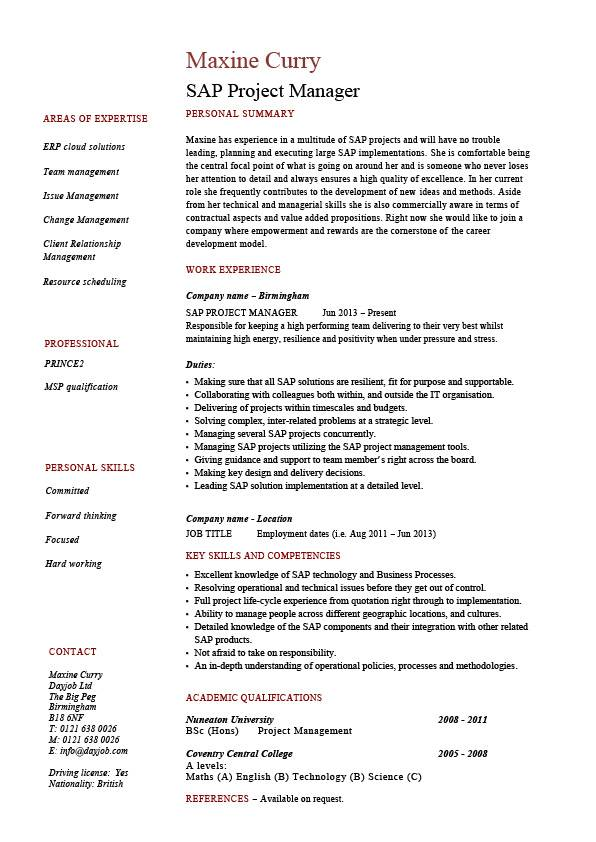 SAP project manager resume, sample, job description, career history, CV
