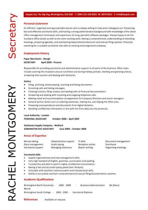 resume cover letter examples secretary