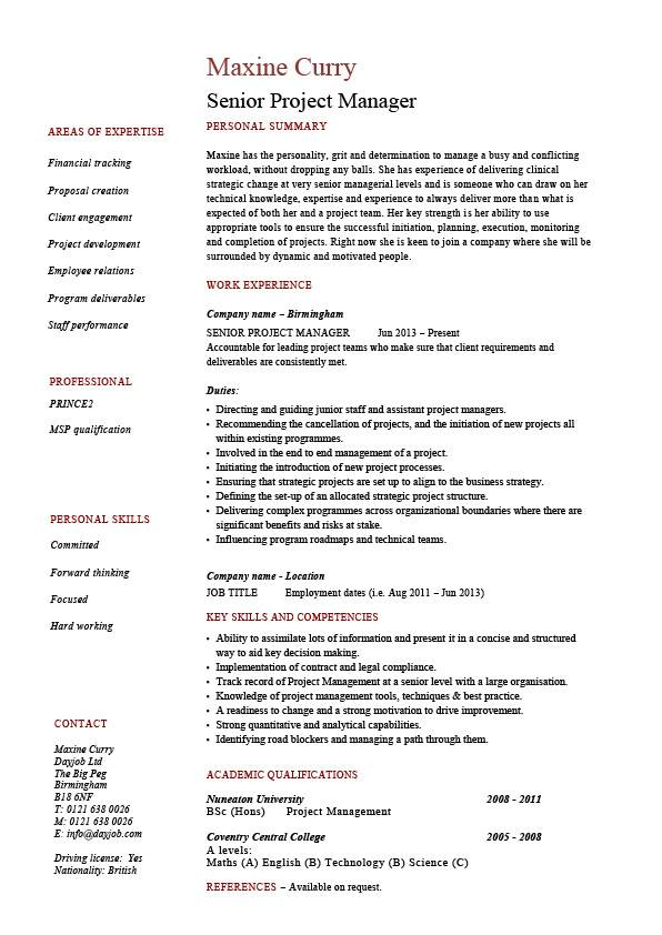 Senior project manager resume, sample, example, references, job