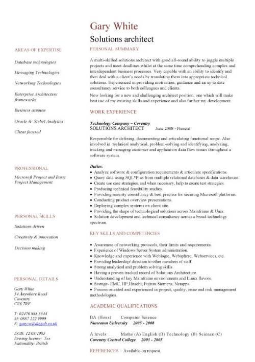 Solutions architect CV sample, CV writing, career history, work