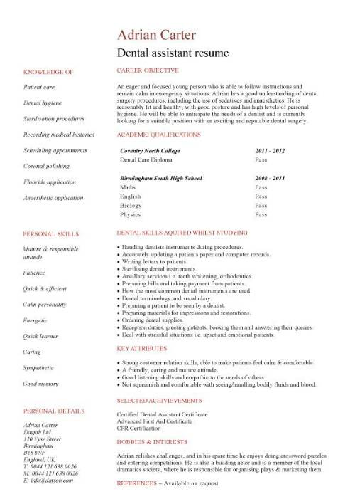 Student entry level Dental Assistant resume template