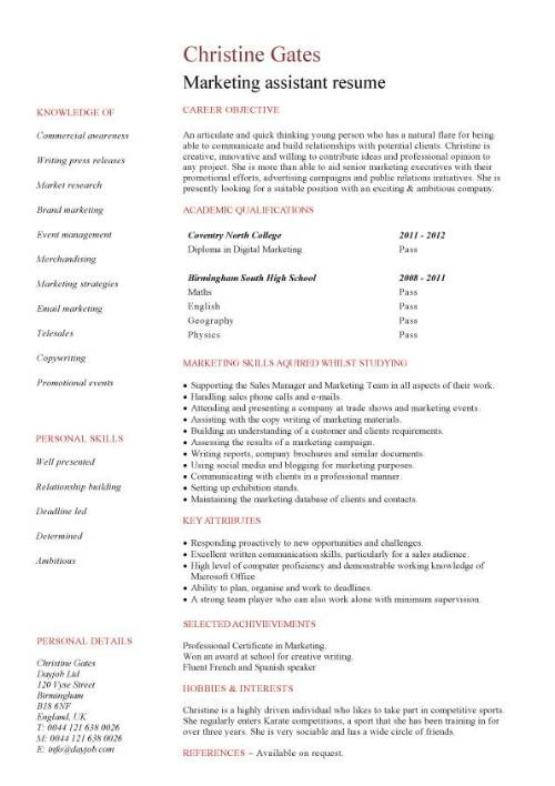 examples of marketing student cv