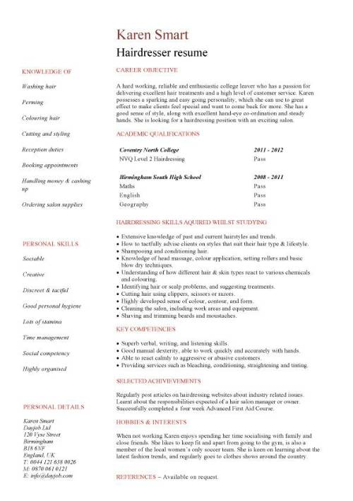 resume in english for students