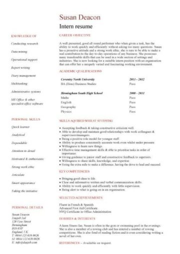 student resume template with no work experience