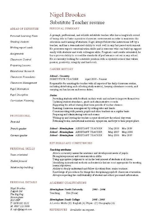 Substitute Teacher resume example, template, sample, teaching