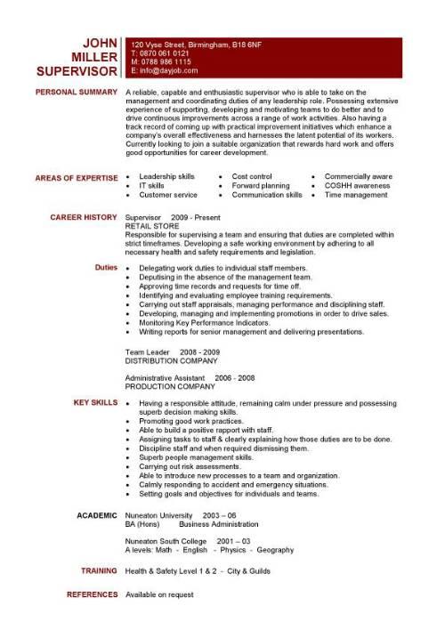 supervisor resume template sample