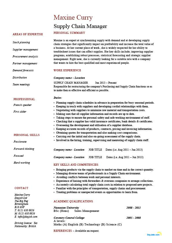 supply chain manager cv examples