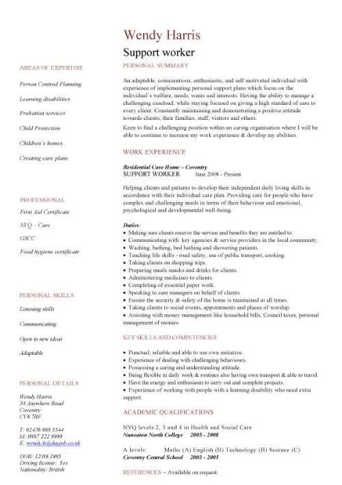 Support worker CV sample