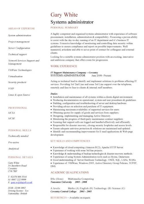 Systems administrator CV sample, resume, curriculum vitae, computer