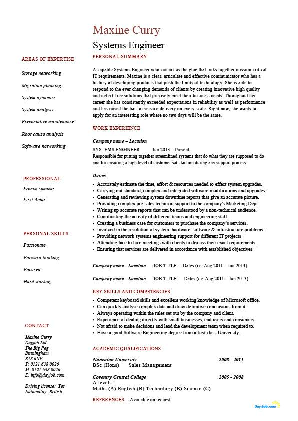 Systems engineer resume, example, sample, IT, security, future