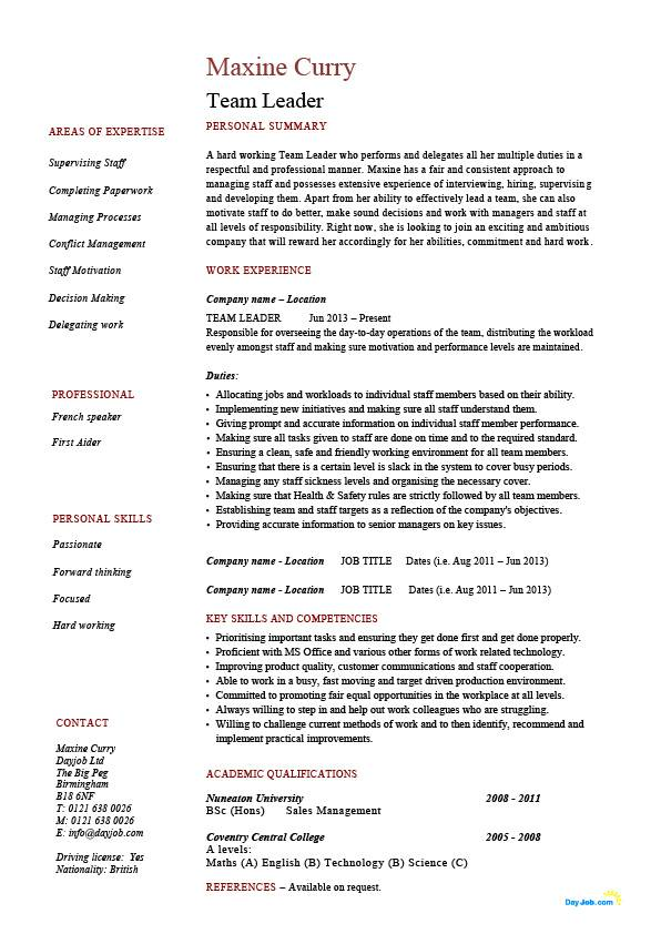 Team Leader resume, supervisor, CV, example, template, sample, jobs