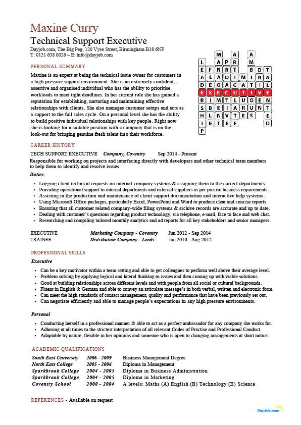 Technical support executive CV sample, how to write a eye catching