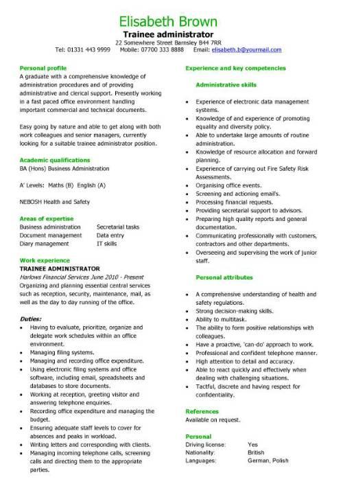 Trainee administrator CV sample