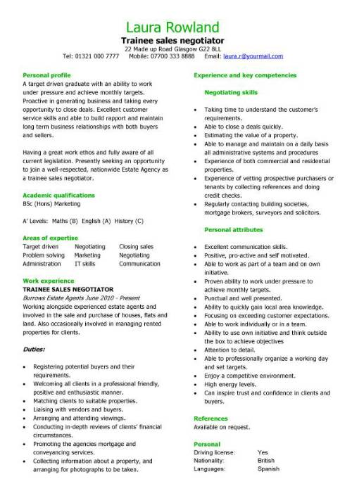 Trainee sales negotiator CV sample