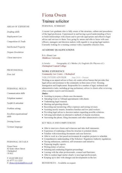 cv lawyer english examples