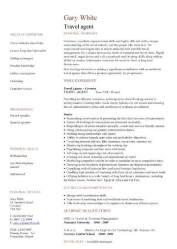 cv travel agent in english