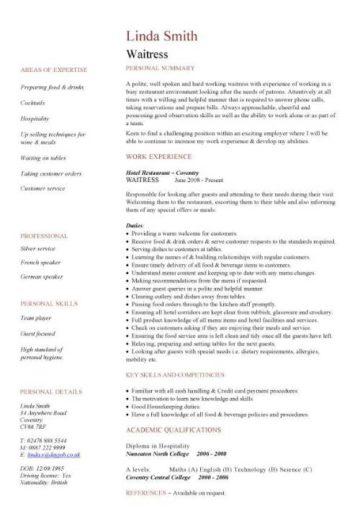 waitress resume sample australia