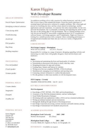 Web developer resume, example, CV, designer, template, development