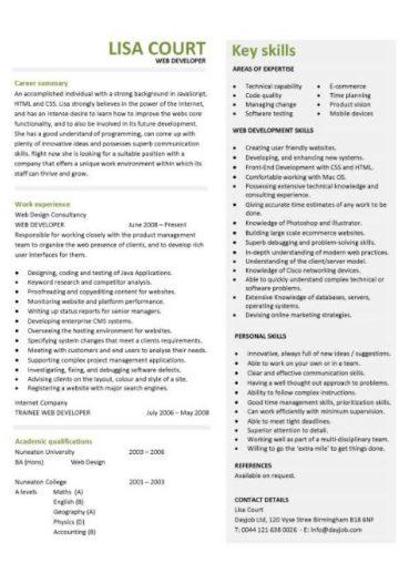 Web developer resume, example, CV, designer, template, development - Web Developer Resume
