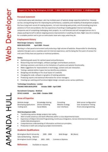 Web developer resume, example, CV, designer, template, development - Web Developer Resume