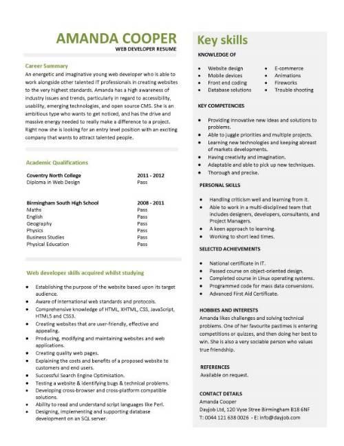Student entry level Web Developer resume template