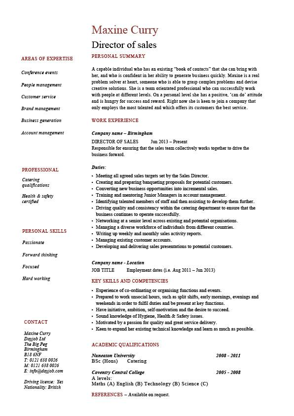 Director of sales resume, sample, example, job description