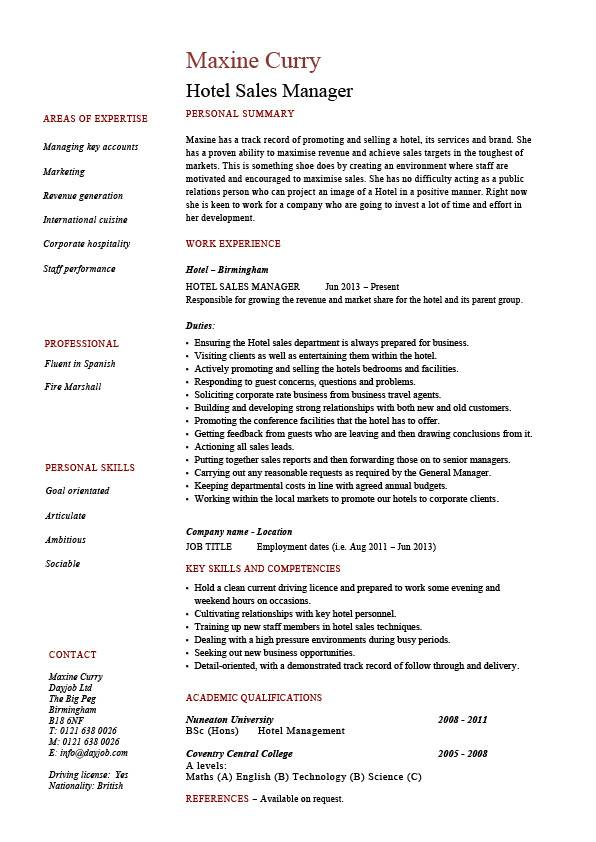 Hotel sales manager resume, Hospitality, marketing, guests - Hospitality Resume