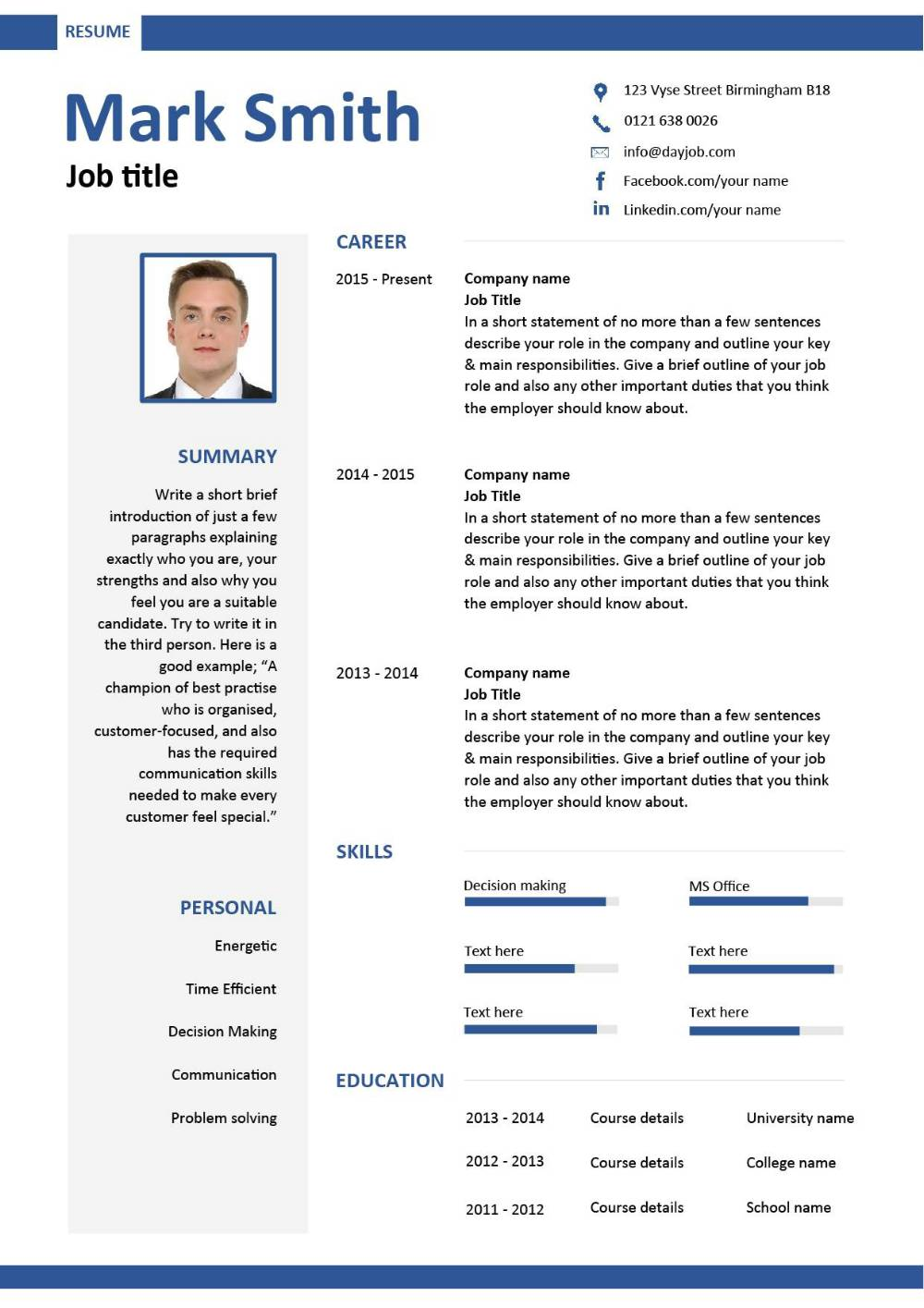 free ats resume sample word