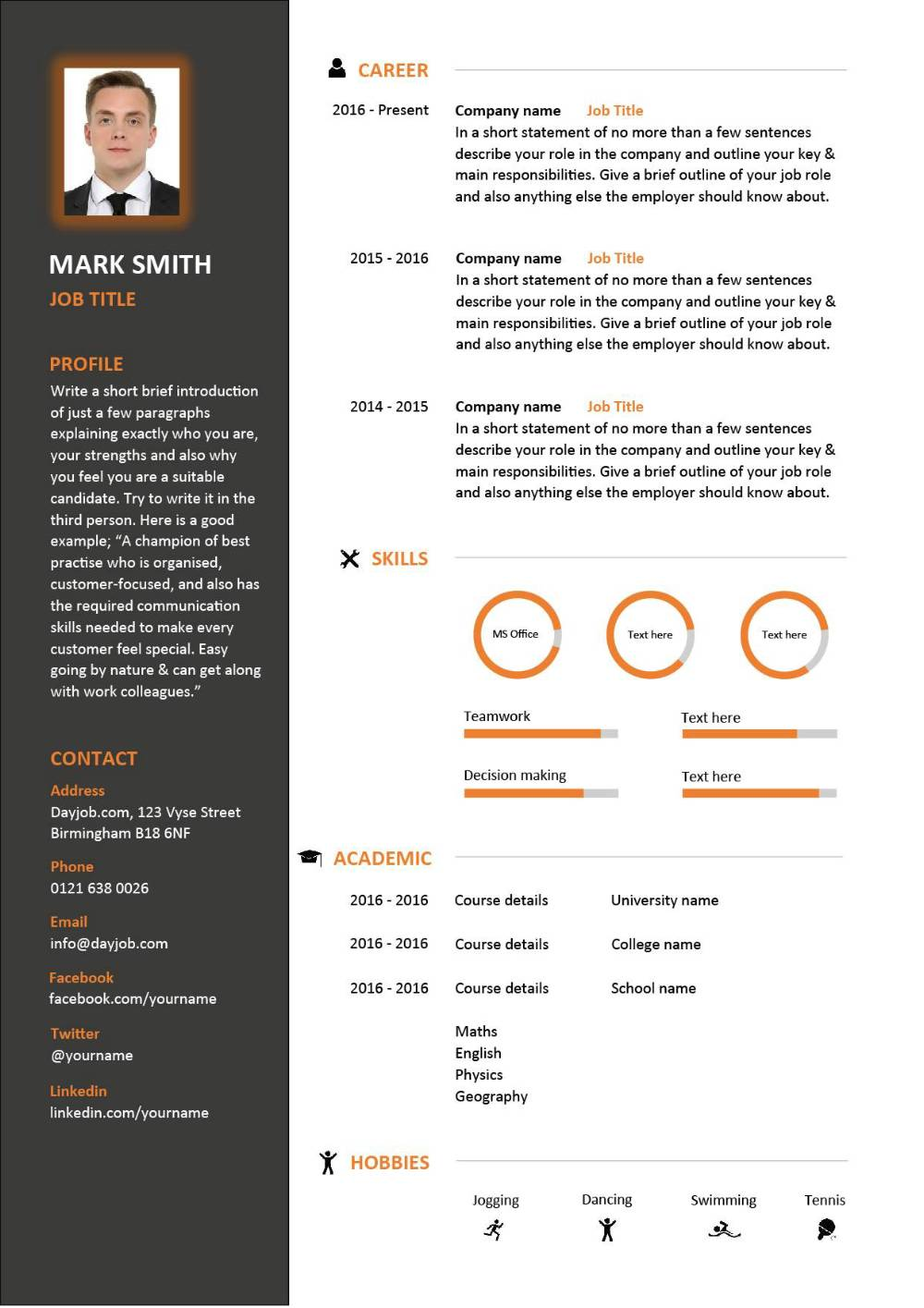 word template cv english