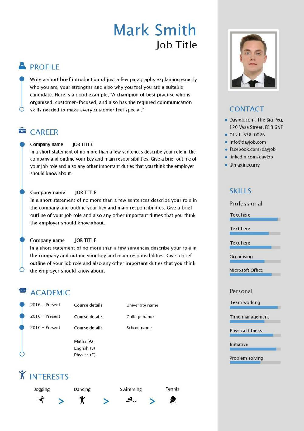cv switzerland example