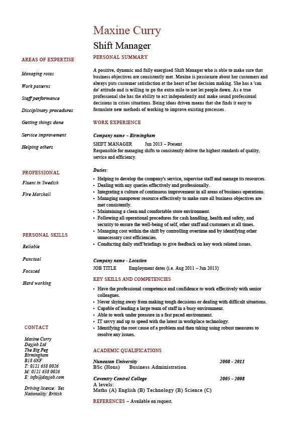 Shift Manager resume - DayJob