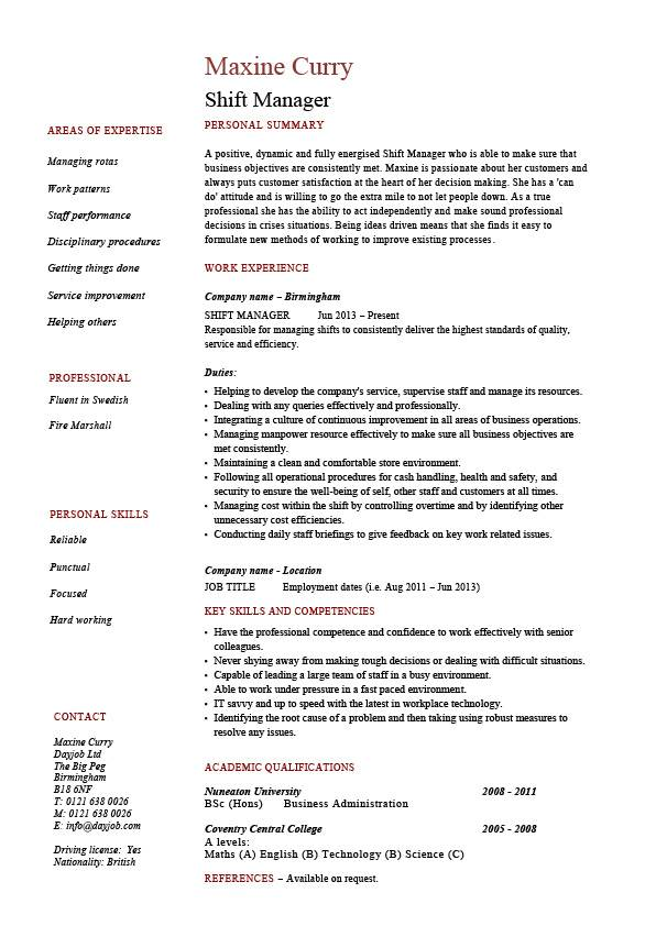 hotel duty manager resume sample