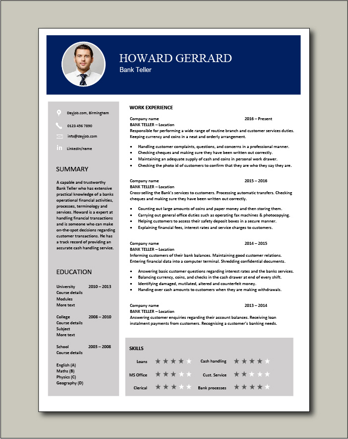 bank teller resume templates free download