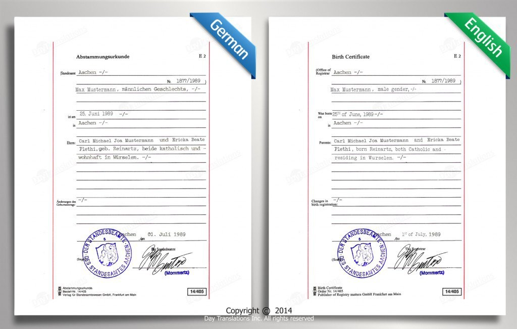 Certified Translation Samples Day Translations Work - samples certificate
