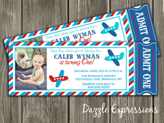 Red, Blue and Aqua Airplane Ticket Birthday Party Invitation - Printable