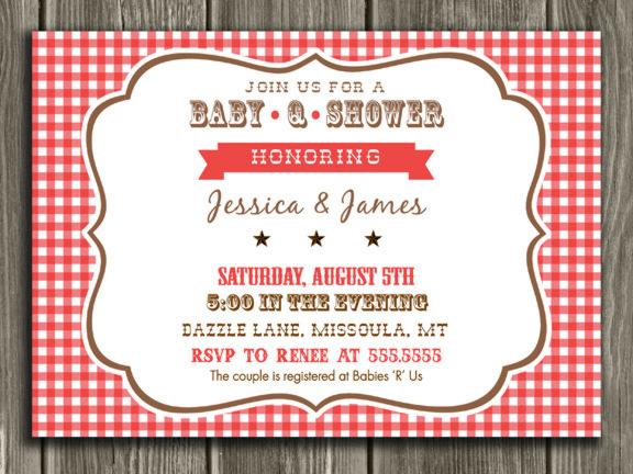 Printable Baby Q Baby Shower Invitation Barbeque Bbq