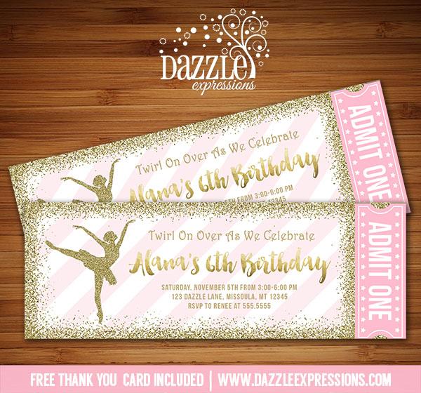 Printable Pink and Gold Glitter Ballet Ticket Birthday Invitation - ticket invitation