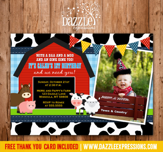 Printable Kids Barnyard Birthday Photo Invitation - Farm Animals