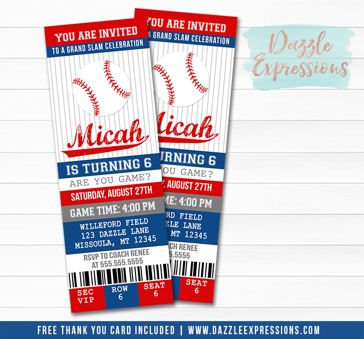 Printable Baseball Birthday Invitation - Sports Ticket Invite - Boys  Birthday Party Idea - FREE thank you card