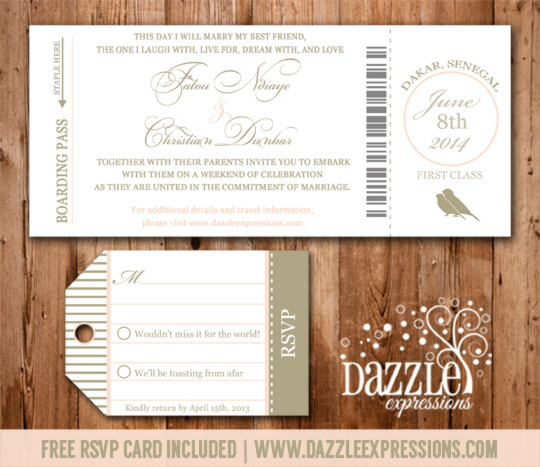 Boarding Pass Wedding Invitation - RSVP Card Included
