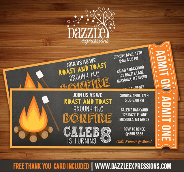 Printable Chalkboard Bonfire Ticket Birthday Invitation - Su0027mores - ticket invitation
