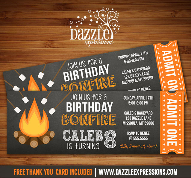 Printable Chalkboard Bonfire Ticket Birthday Invitation - S\u0027mores - free printable ticket invitations