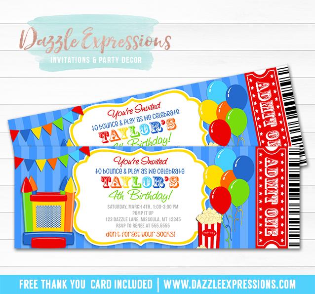 Printable Bounce House Ticket Birthday Invitation - Trampoline - ticket invitation