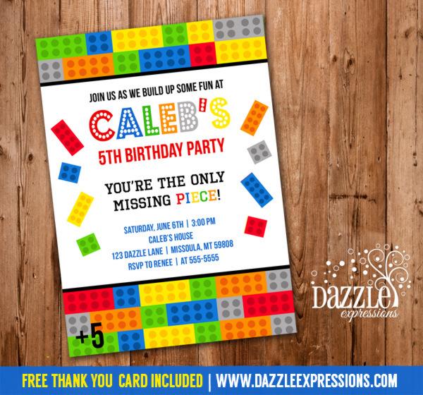 Printable Building BlockBrick Birthday Invitation - Inspired by