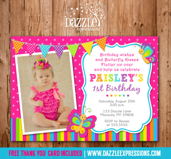Printable Butterfly Birthday Photo Invitation - Girl First Birthday - butterfly thank you cards