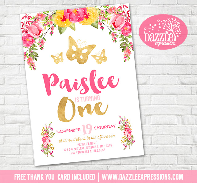 Printable Watercolor Floral and Gold Butterfly Birthday Invitation - butterfly thank you cards