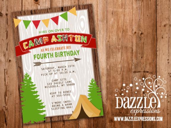 Printable Rustic Camping Birthday Invitation - Backyard Sleepover