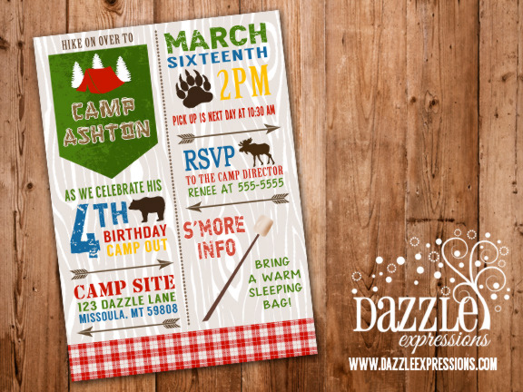 Printable Rustic Camping Birthday Invitation - Backyard Sleepover - free printable camping invitations