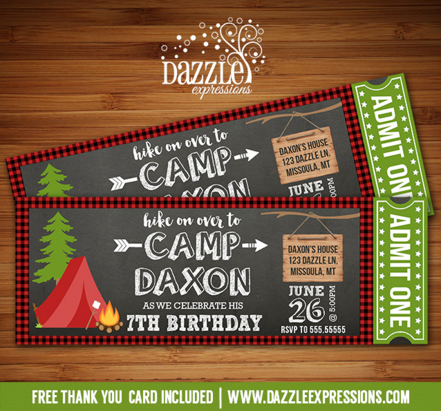 Printable Camping Chalkboard Ticket Birthday Invitation - Rustic - free printable camping invitations